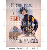 Historical Illustration of a Female Marine - if You Want to Fight - Join the Marines by Al