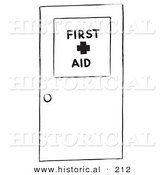 Historical Illustration of a First Aid Medical Door - Outlined Version by Al