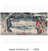 Historical Illustration of a Geisha Woman Wearing a Gown and a Man Holding an Umbrella in a Snowy Landscape by Al