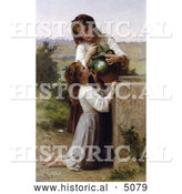 Historical Illustration of a Girl Helping Her Sister Drink Water from a Jar, at the Fountain, by William-Adolphe Bouguereau by Al