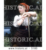 Historical Illustration of a Girl Raking Hay, the Haymaker by William-Adolphe Bouguereau by Al