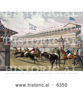 Historical Illustration of a Group of Anxious Jockeys Rushing Away from the Start Line at Jerome Park, New York by Al