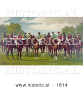Historical Illustration of a Group of Jockeys on Their Horses by Al