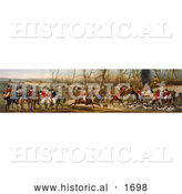 Historical Illustration of a Group of Men on Horseback and Dogs Ready for a Fox Hunt by Al