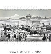 Historical Illustration of a Group of People Watching from the Sidelines of a Horse Race by Al