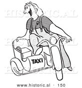 Historical Illustration of a Happy Cartoon Female Taxi Driver Sitting on an Old Motorcycle with Sidecar - Black and White Version by Al