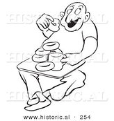 Historical Illustration of a Happy Cartoon Man Eating Donuts and Drinking Coffee with a Big Smile on His Face - Outlined Version by Al