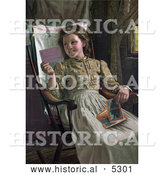 Historical Illustration of a Happy Girl Sitting in a Rocking Chair and Looking at Photographs by Al