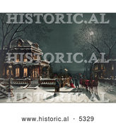 Historical Illustration of a Horse Drawn Carriage and People Arriving at a House for a Christmas Party on the Night of Christmas Eve by Al