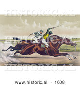 Historical Illustration of a Horse Race Between Salvator and Tenny at Sheepshead Bay, New York - June 25th, 1890 by Al