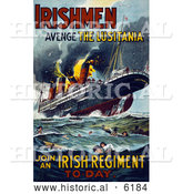 Historical Illustration of a Irish Recruiting Poster to Avenge the Luistania by Al
