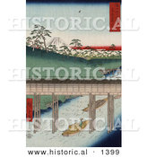 Historical Illustration of a Japanese Cargo Boat Passing Under a Conduit on the Tea-Water Canal near Mt Fuji, Tokyo, Japan by Al
