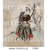 Historical Illustration of a Japanese Guy Practicing Archery, Holding a Bow and Arrow by Al