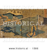 Historical Illustration of a Japanese Man and Woman Separated by an Interior Screen Wall by Al