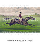 Historical Illustration of a Jockey Riding a Brown Gelding, Leaping Across a Grassy Field by Al