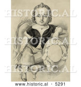 Historical Illustration of a Little Boy or Girl Sitting in a Chair, Holding a Riding Crop and Hat by Al