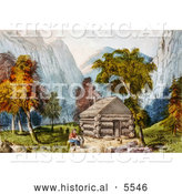 Historical Illustration of a Log Cabin in Yosemite by Al