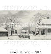 Historical Illustration of a Man Arriving at a Farm in Time for Thanksgiving by Al