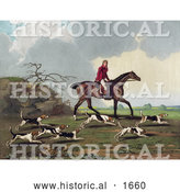 Historical Illustration of a Man, Captain Ricketts, on Horseback, Fox Hunting with Dogs by Al