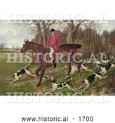 Historical Illustration of a Man Fox Hunting on Horseback, Surrounded by Dogs by Al