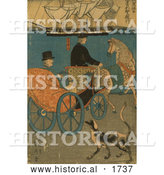 Historical Illustration of a Man in a Carriage, a Dog Alongside by Al