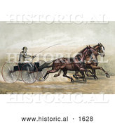 Historical Illustration of a Man, John Murphy, Holding a Whip While Driving Two Trotting Horses at the Gentlemen's Driving Park in Morissania, New York - July 13th, 1882 by Al