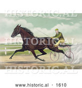 Historical Illustration of a Man Racing a Horse on a Two Wheel Sulky by Al