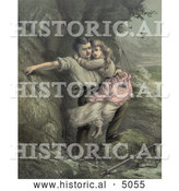 Historical Illustration of a Man Rescuing a Girl, Possibly His Daugher, from a Shipwreck in a Stormy Sea, C 1878 by Al