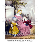 Historical Illustration of a Mother with Son and Daughter by a Water Fountain in a Park by Al
