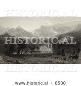 Historical Illustration of a Native American Encampment with Tipis and Horses on a Lake Shore in Yosemite Valley of the Rocky Mountains by Al