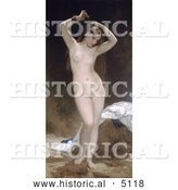 Historical Illustration of a Nude Woman Combing Through Her Long Hair with Her Fingers, Bather by William-Adolphe Bouguereau by Al