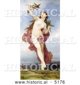 Historical Illustration of a Nude Woman Holding Branches with Berries, Feeding Birds, Day by William-Adolphe Bouguereau by Al