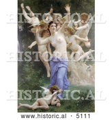 Historical Illustration of a Nude Woman Surrounded by Cherubs and Cupids with Arrows, the Invasion by William-Adolphe Bouguereau by Al