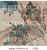 Historical Illustration of a Samurai Falling in Front of a Cave with Treasure by Al