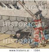 Historical Illustration of a Samurai with Clappers, Man with Rope and a Man Laying on the Ground by Al