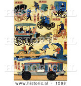 Historical Illustration of a Series of Japanese Transportation by Al