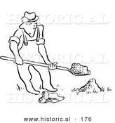 Historical Illustration of a Sneaky Cartoon Man Quietly Trying to Dig a Hole in the Ground with a Shovel - Outlined Version by Al