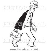 Historical Illustration of a Tired Cartoon Businessman Carrying His Lunch Box While Yawning - Outlined Version by Al
