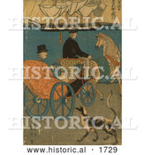Historical Illustration of a Tourist in a Carriage in Japan by Al