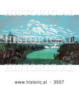 Historical Illustration of a Train Crossing the Great International Railway Suspension Bridge, Niagara Falls in the Background by Al