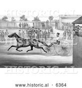 Historical Illustration of a Trotting Horse, John Stewart, on His Twentieth Mile, September 22nd 1868 - Black and White by Al
