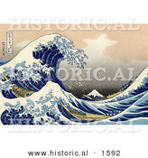 Historical Illustration of a Tsunami Wave near Mount Fuji, the Great Wave off Kanagawa - Katsushika Hokusai by Al