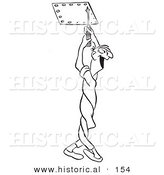 Historical Illustration of a Twisted Cartoon Male Worker Unscrewing Bolts with a Big Happy Smile - Outlined Version by Al