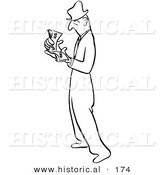 Historical Illustration of a Wealthy Cartoon Businessman Counting His Cash - Outlined Version by Al
