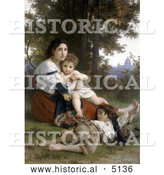 Historical Illustration of a Woman and Her Two Children Resting by Trees, Rest by William-Adolphe Bouguereau by Al