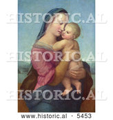 Historical Illustration of a Woman Holding a Baby, Tempi Madonna by Raphael by Al