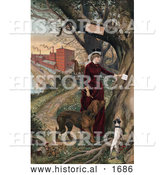 Historical Illustration of a Woman in Horseback Riding Clothes, Putting a Note in a Tree, Her Dogs Beside Her and Horse and Mill in the Background by Al