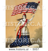 Historical Illustration of a Woman, Portrayed As Lady Liberty, Holding a Sword and American Flag by Al