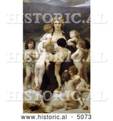 Historical Illustration of a Woman Surrounded by Many Nude Children, the Motherland by William-Adolphe Bouguereau by Al
