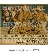 Historical Illustration of a Women with Horses 1918 by Al